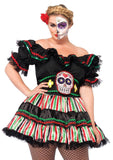 Day of the Dead Doll Mexican Sugar Skull Halloween Plus Size Costume