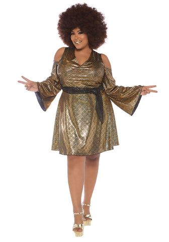 70s Shimmering Disco Doll Plus Size Curvy Hire Costume