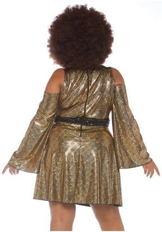 70s Shimmering Disco Doll Plus Size Curvy Costume back