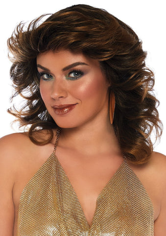 70s Disco Farrah Feathered Golden Brown Wig
