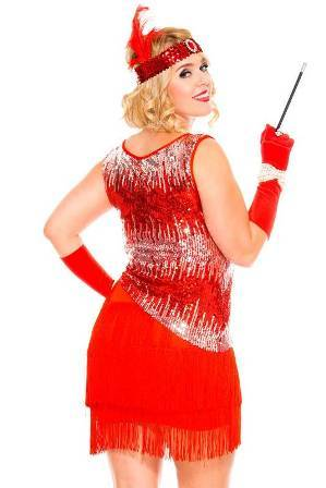 Flapper Fearless Gatsby Flapper Red Plus Size Womens Costume back