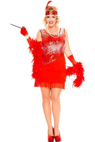 Flapper Fearless Gatsby Flapper Red Plus Size Womens Costume