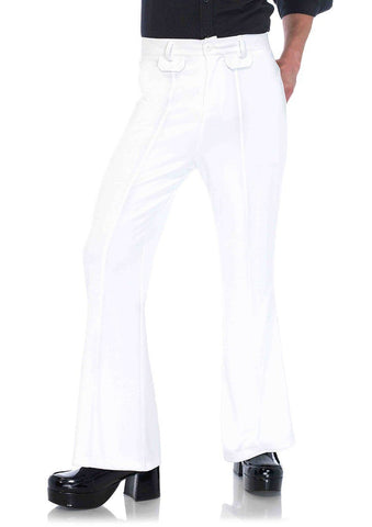 Flares Men's Retro 60's 70's Bell Bottom Disco Pants White