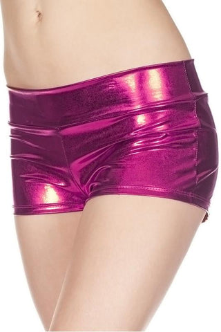 Fuchsia HOTPANTS Sexy Shiny Ladies Booty Shorts Cheeky Metallic Boyshorts