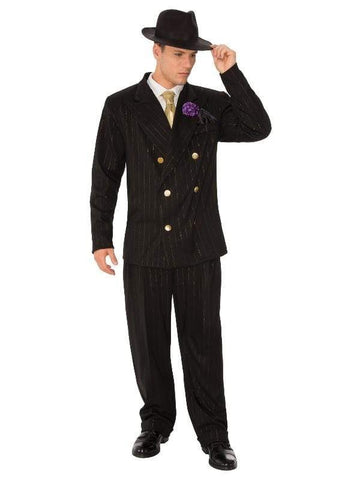 Gangster Adult Costume with Gold Pin Stripe and Gold Tie