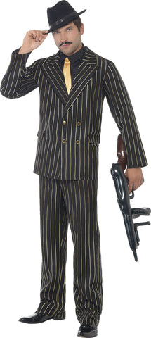 Gold Pin Striped 1920's Gatsby Gangster Mens 20s Costume