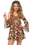 Go Go Starflower Hippie Womens Hire Costume