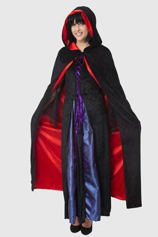 Hooded Reversible Satin Lined Capes for Adults Black and Red