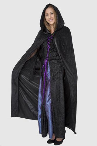 Hooded Reversible Satin Lined Capes for Adults Black