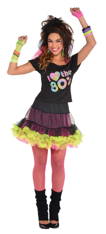 I Love the 80s Black T-Shirt Ladies Fancy Dress Costume Top