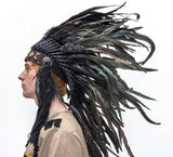 Indian Headdress Black Cock Feather Native American Chief Quality Headgear
