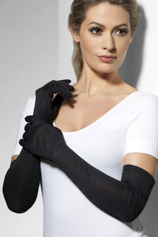 Long Black Stretch Costume Gloves