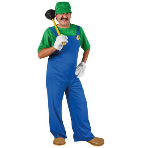 Super Plumber Adult Costume Luigi 1980s Video Game Fancy Dress