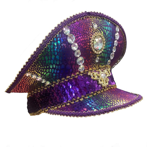 Mardi Gras Festival Hat Purple Sequin Visor