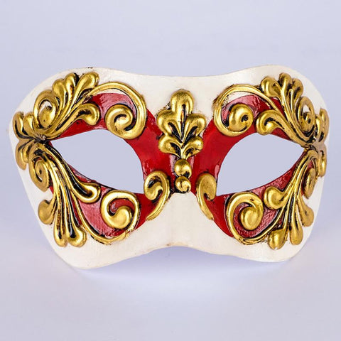 white red and gold masquerade mask
