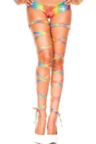 Metallic Rainbow Mardi Gras Leg Wraps