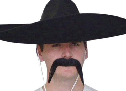 Mexican Black Moustache Western Bandit Costume Mo