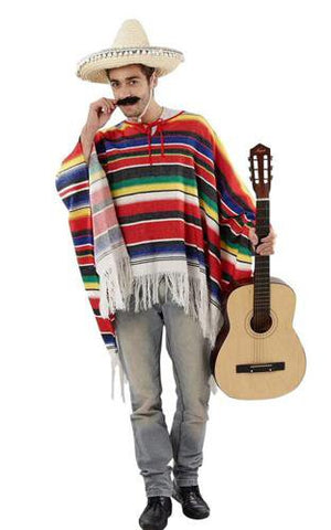 Woven Mexican poncho in bright stripes with a white tassel trim