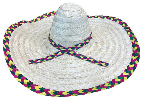 Mexican Sombrero Hat Natural with Multi Trim
