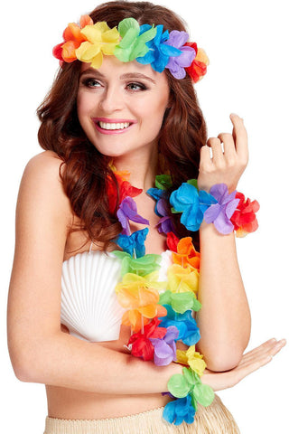 Multi-Coloured Hawaiian 4 Piece Costume Lei Set