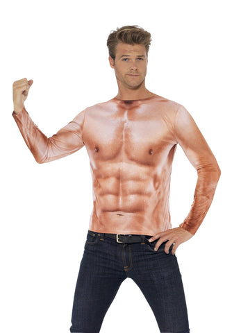 Muscle Man Realistic Buff Muscle Top Six Pack Shirt