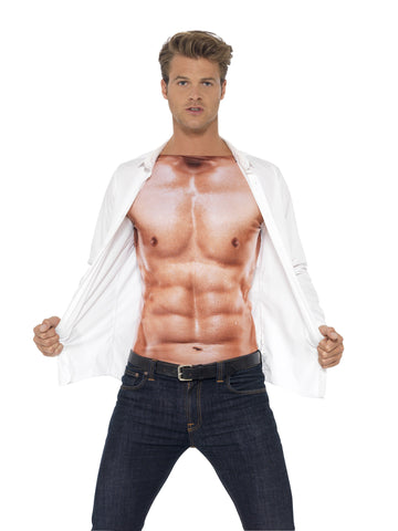 Muscle Man Realistic Buff Muscle Top Six Pack Shirt with clothes