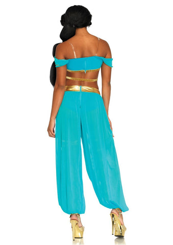 Oasis Princess Arabian Sexy Belly Dancer Genie Jasmine Womens Costume back