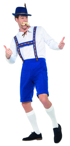 Oktoberfest Bavarian Blue Short Lederhosen Costume side