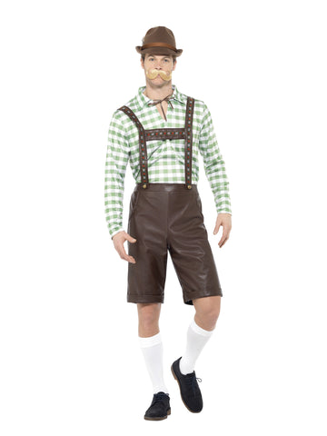 Oktoberfest Bavarian Man Brown Short PVC Lederhosen Costume