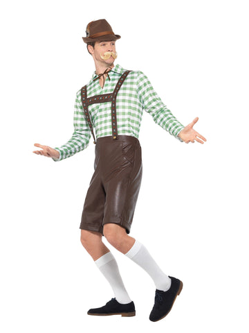 Oktoberfest Bavarian Man Brown Short PVC Lederhosen Costume side