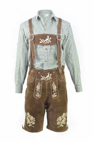 Oktoberfest Traditional Authentic Lederhosen and Green Shirt
