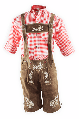 Oktoberfest Traditional Authentic Lederhosen and Red Shirt Sleeves Folded