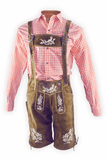 Oktoberfest Traditional Authentic Lederhosen and Red Shirt