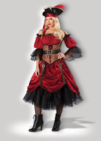Pirate Wench Swashbuckling Scarlet Womens Hire Costume