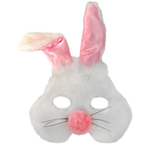 Bunny Rabbit White and Pink Plush Mask