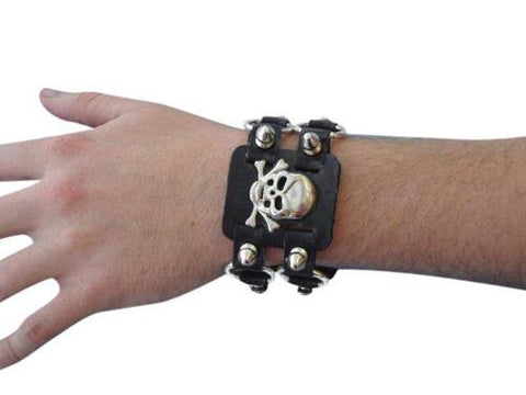 Punk Skull Wristband 80s Costume Accessory