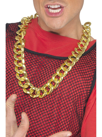 Rapper Gangster Fake Gold Chain Bling 80s 90s Necklace Costume Accessory