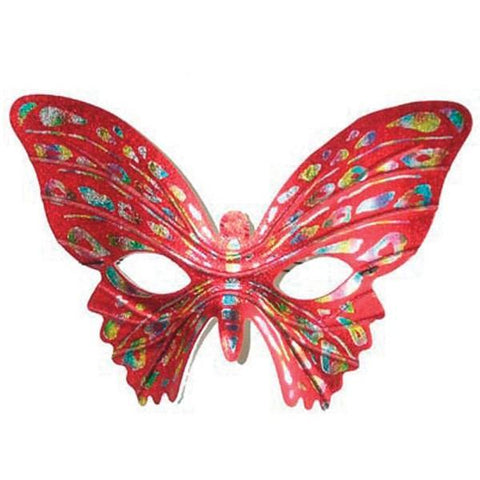 Red ladies butterfly costume face masquerade mask with elastic strap with gold, blue and silver details.