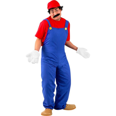 Super Plumber Adult Costume M. Video 80s Game Fancy Dress