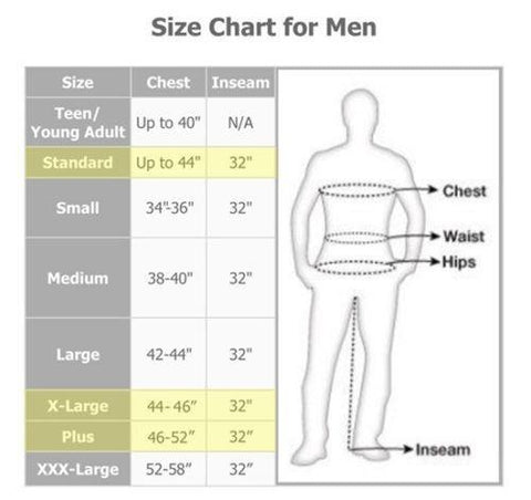 The Joker size chart