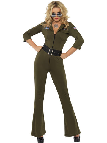 Top Gun Womens 80s Maverick Jumpsuit Costume and Aviator Sunglasses