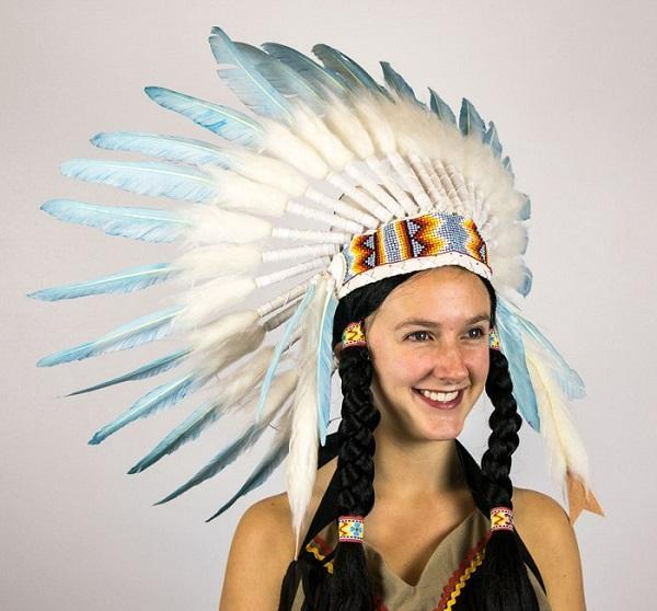 Red Indian Headdress Mens Fancy Dress Native American Adults Costume Accessory