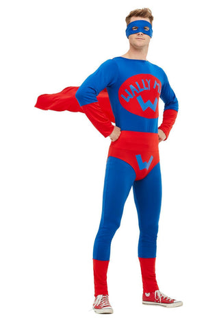 Wally Man Super Hero Jumpsuit Costume with flowing cape