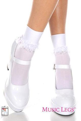 White Ankle High Opaque Socks with Frilly Lace Trim