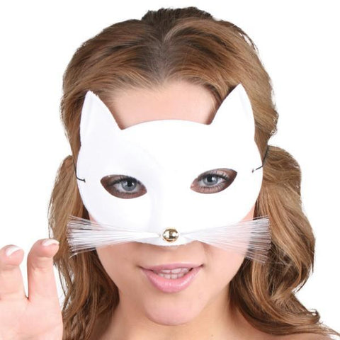 White Cat Masquerade Mask with Whiskers