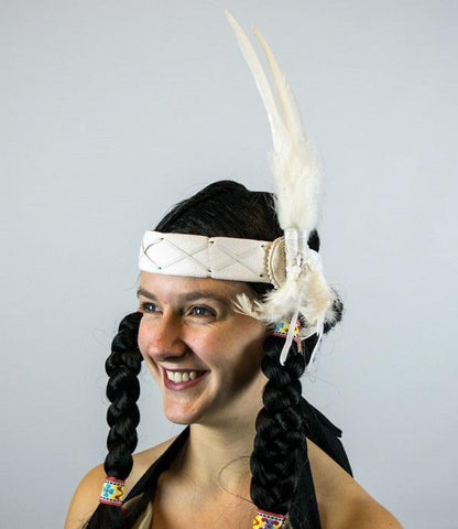 White Indian Headband Native American Headdress