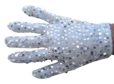 White Pop star Glove With Silver Sequins