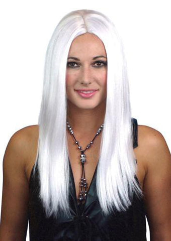 White Wig Long with Centre Part