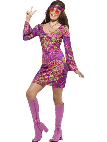 Woodstock Hippie Chick Ladies Fancy Dress Costume