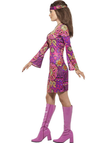 Woodstock Hippie Chick Ladies Fancy Dress Costume profile